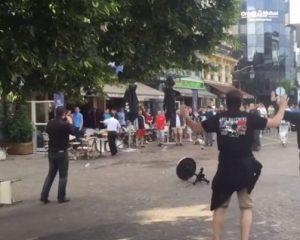 Появилось видео побоища российских и английских фанатов во Франции [видео]